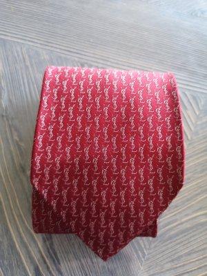 Yves Saint Laurent Cravate ascot doré-rouge foncé