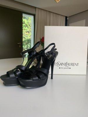 Yves Saint Laurent Sandales à plateforme noir cuir