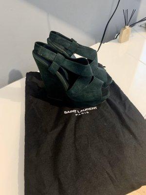 Yves Saint Laurent Sandalias con plataforma verde oscuro