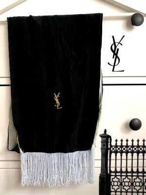 Yves Saint Laurent Zijden sjaal zwart-lichtgrijs