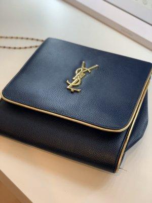 Yves Saint Laurent Borsa a spalla blu scuro-oro