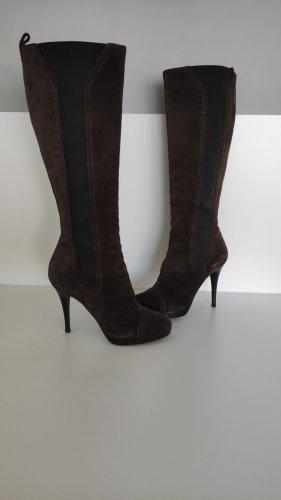 Yves Saint Laurent Vintage Velour Stiefel Schwarz Braun Plateau Absatz Heels