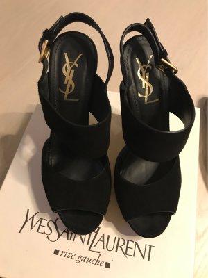 Yves Saint Laurent Wedges aus schwarzem Chamois Leder