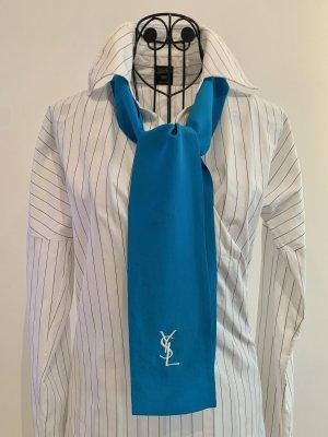 Yves Saint Laurent Zijden sjaal wit-neon blauw Zijde