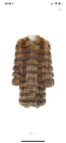 Yves salomon Manteau en tricot gris-rouille