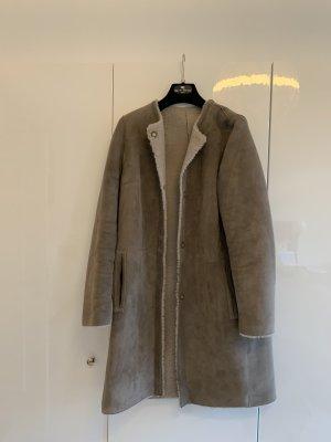 Yves salomon Futrzana kurtka szaro-brązowy