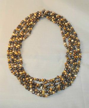 Pearl Necklace olive green-light orange