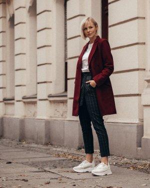 Zabaione Bundfaltenhose blau-weiß Karomuster Business-Look