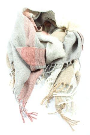 Zabaione Sciarpa con frange grigio chiaro-rosso stile casual