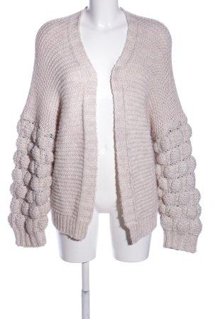 Zabaione Cardigan a maglia grossa grigio chiaro punto treccia stile casual