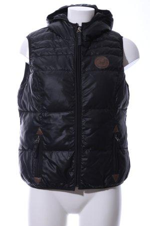 Zabaione Gilet à capuche noir motif de courtepointe style décontracté