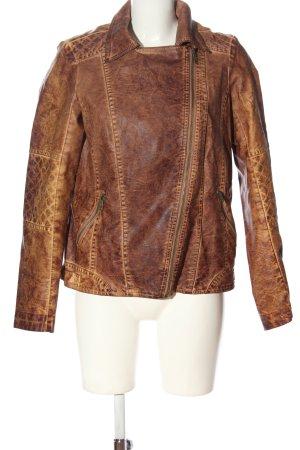 Zabaione Giacca in ecopelle marrone motivo a righe stile casual
