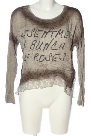 Zabaione Langarm-Bluse braun-schwarz Schriftzug gedruckt Casual-Look
