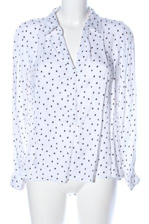 Zabaione Langarm-Bluse weiß-schwarz Punktemuster Casual-Look