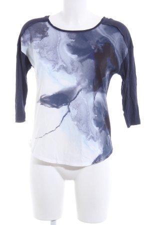 Zabaione Longshirt blau-weiß abstraktes Muster Casual-Look