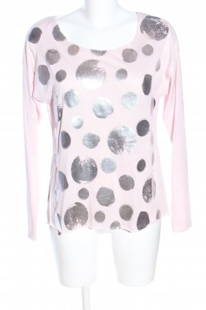 Zabaione Longsleeve pink-silberfarben Punktemuster Casual-Look