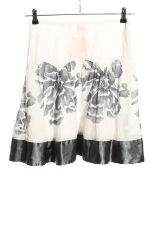 Zabaione Spódnica midi w kolorze białej wełny-jasnoszary Wzór w kwiaty