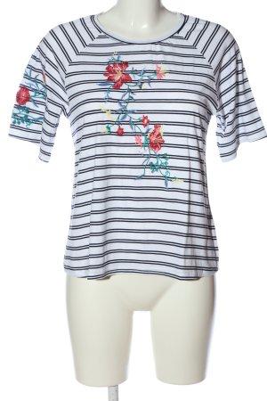 Zabaione Maglietta a righe bianco-blu stampa integrale stile casual