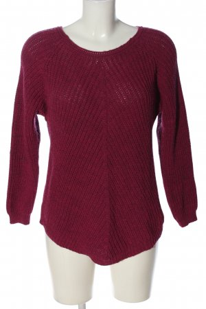 Zabaione Knitted Sweater red cable stitch casual look