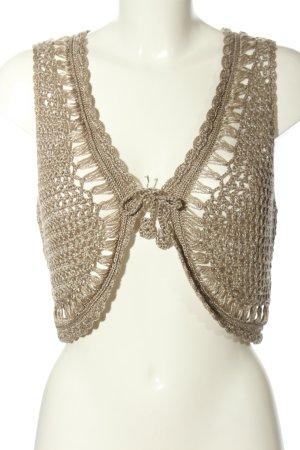 Zabaione Gebreid vest brons Webpatroon elegant
