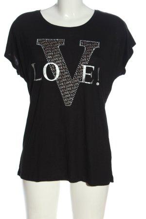 Zabaione T-Shirt schwarz-silberfarben Schriftzug gedruckt Casual-Look