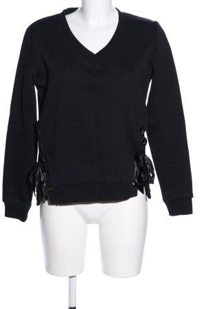 Zabaione V-Ausschnitt-Pullover schwarz Casual-Look