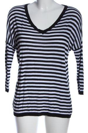 Zabaione V-Ausschnitt-Pullover schwarz-weiß Streifenmuster Casual-Look