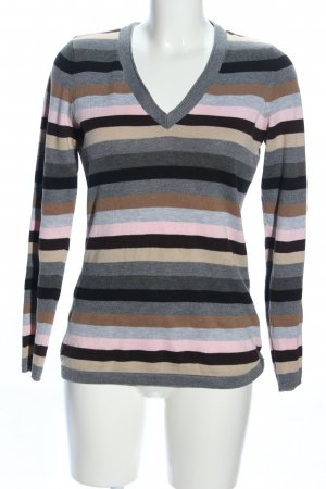 Zabaione V-Ausschnitt-Pullover Streifenmuster Casual-Look