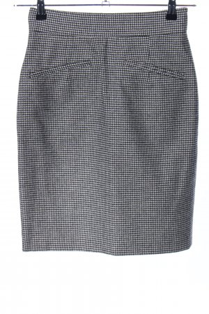 Zabaione Wool Skirt black-white allover print business style