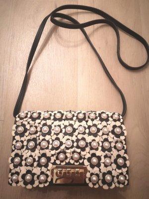 Zac Posen Earthette Designer Umhänge Tasche Schwarz Beige Gold Schnalle Blüten Perlen edel schick