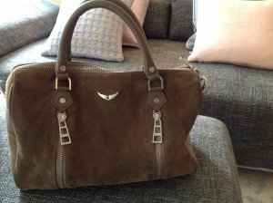 Zadig & Voltaire Sac bowling gris vert cuir