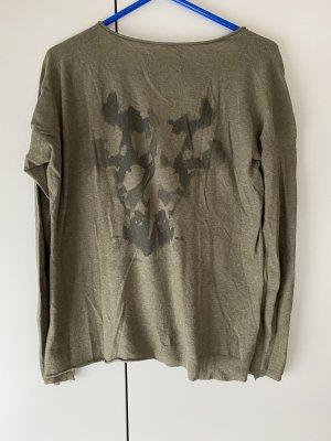 Zadig & Voltaire Cienki sweter z dzianiny zielono-szary