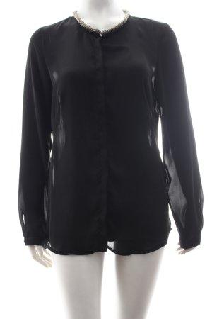 zaffiri Langarm-Bluse schwarz-silberfarben Elegant