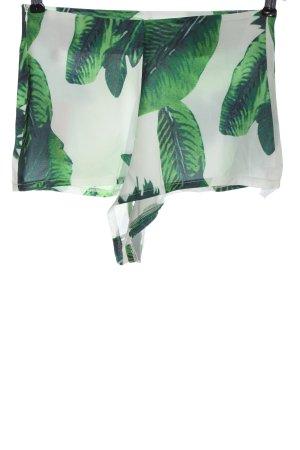 Zaful Beachshorts weiß-grün Allover-Druck Elegant