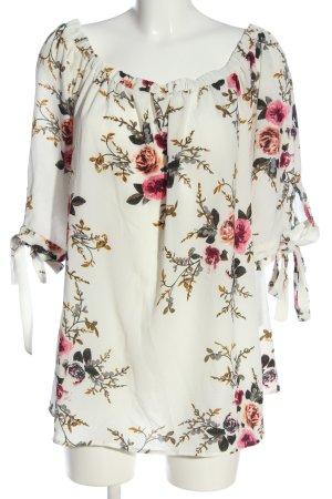 Zaful Carmen Blouse white-pink flower pattern business style