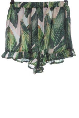 Zaful Krótkie szorty zielony-różowy Na całej powierzchni W stylu casual