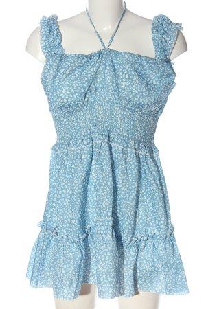 Zaful Minikleid blau-weiß abstraktes Muster Elegant
