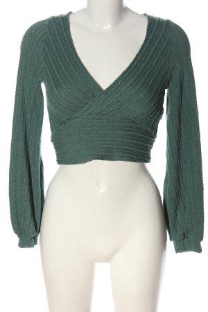 Zaful Strickshirt grün Casual-Look
