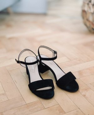 Zago & Zanon Sandalette Riemchen Sandalen Absatz schwarz Leder 38