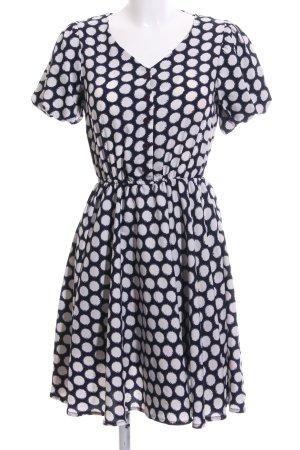 Zalando A-Linien Kleid blau-wollweiß Allover-Druck Elegant
