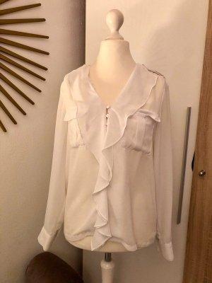 Zalando Collection Bluse weiß, Volants, halbtransparent Gr. M