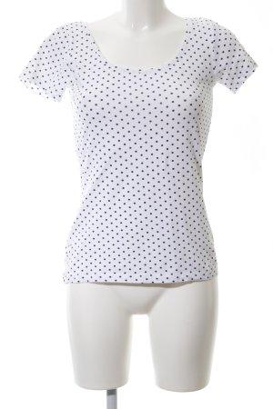 Zalando T-Shirt weiß-schwarz Punktemuster Casual-Look