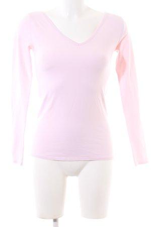 Zalando Koszulka z dekoltem w kształcie litery V różowy W stylu casual