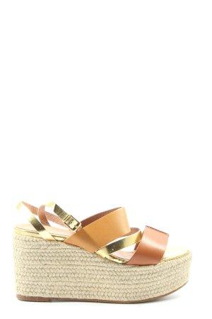 Zalando Wedges Sandaletten hellorange-goldfarben Casual-Look