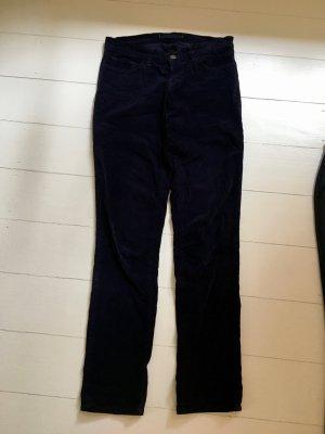 JBRAND Pantalon cinq poches bleu foncé-brun pourpre