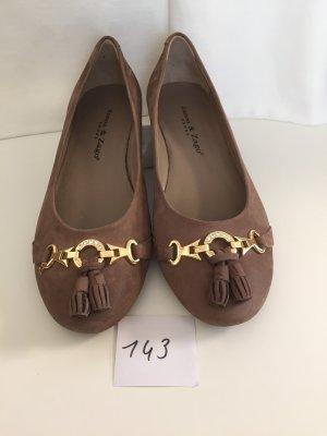 Zanon & Zago Patent Leather Ballerinas light brown suede