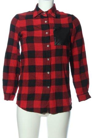Zanzea Camicia da boscaiolo rosso-nero motivo a quadri stile casual