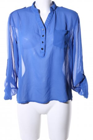 Zanzea Transparenz-Bluse blau Business-Look