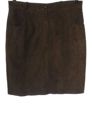 Zapa Falda de cuero marrón look casual