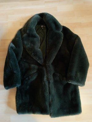 Zara Płaszcz ze sztucznym futrem ciemnozielony